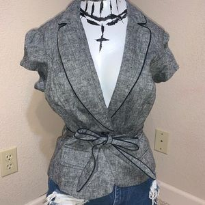 Sexy collared peplum blazer short sleeve office